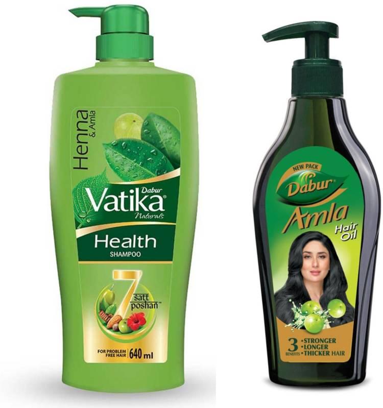 Dabur Amla Hair Oil - 550ml with Vatika Naturals Health Shampoo - 640ml Price in India