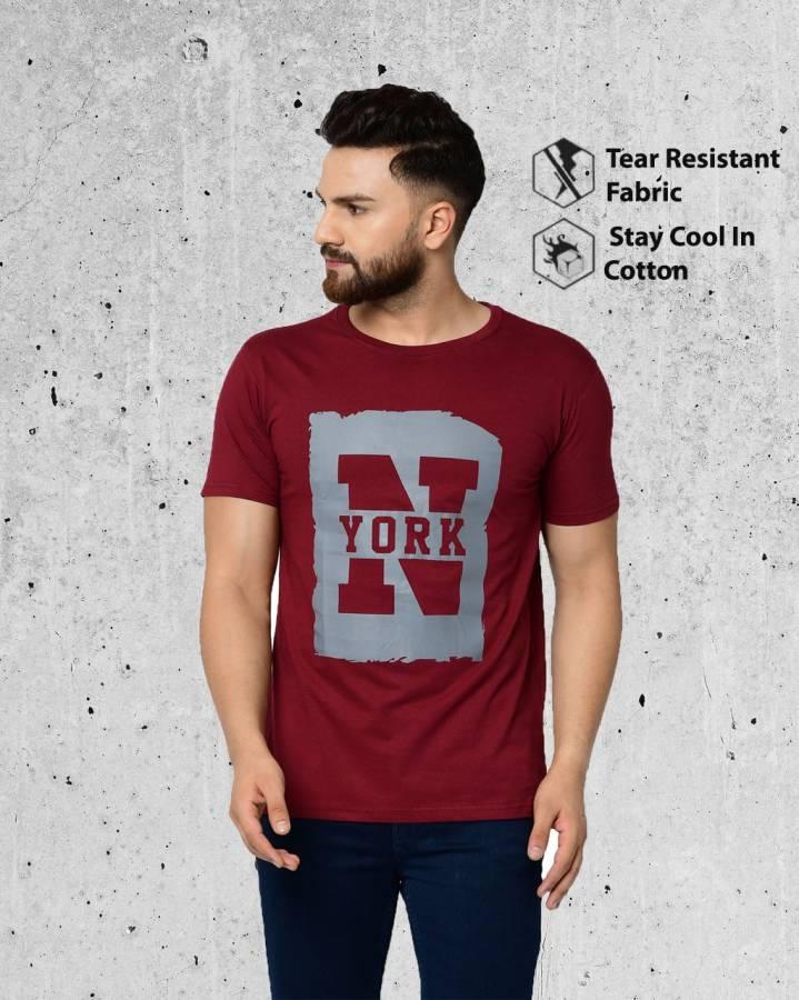 Printed Men Round Neck Maroon T-Shirt Price in India