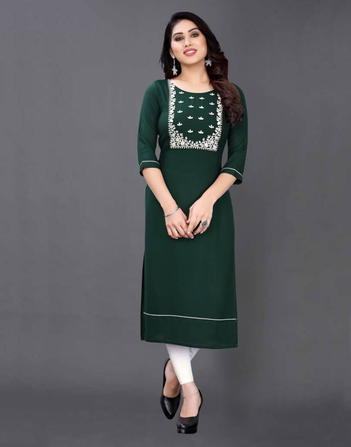Women Embroidered, Embellished Rayon Straight Kurta Price in India