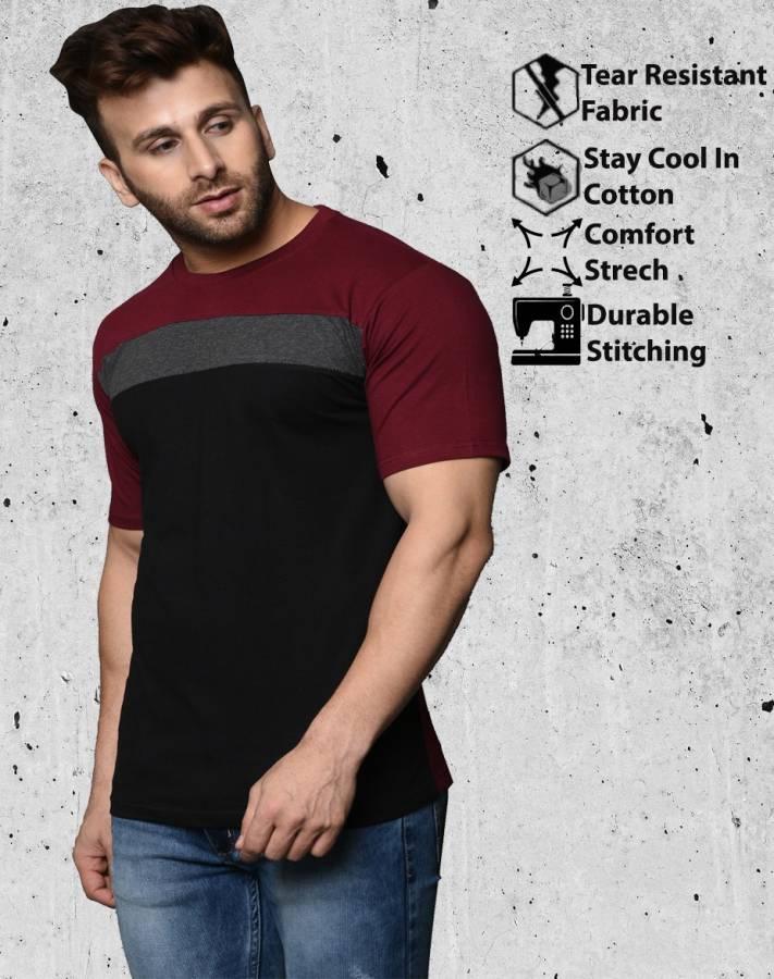 Color Block Men Round Neck Multicolor T-Shirt Price in India