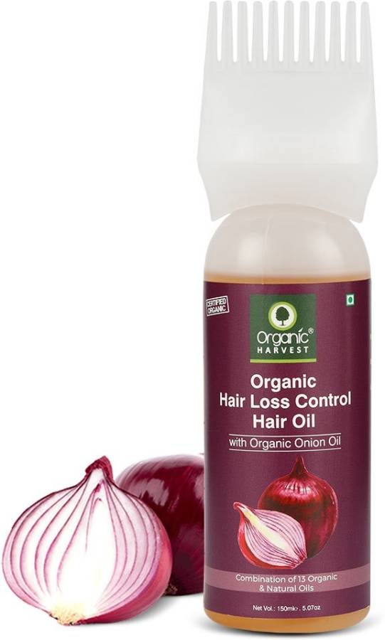 Organic Harvest Hair Loss Control Hair Oil, Infused with Organic Onion Oil and a Combination of 13 Organic Natural Oils, Reduces Hair Breakage and Prevents Thinning Hair Oil Price in India