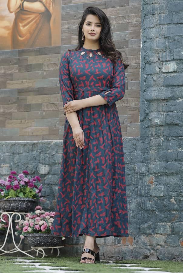 Women Printed Rayon Gown Kurta Price in India