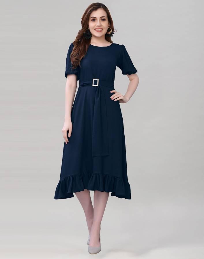 Women A-line Dark Blue Dress Price in India