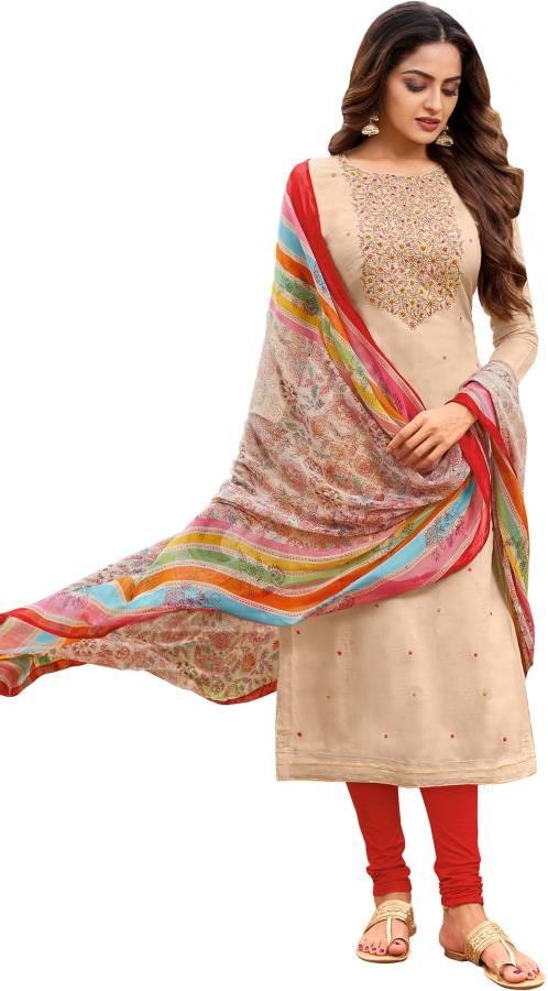 Chanderi Cotton Embroidered Kurta & Churidar Material Price in India