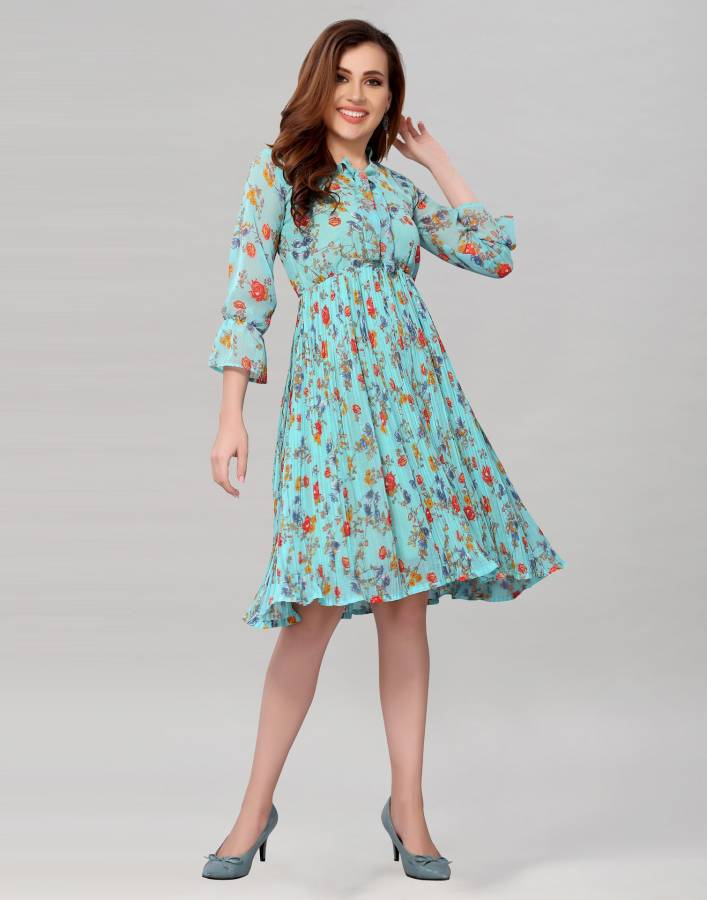 Women Pleated Light Blue Dress Price in India