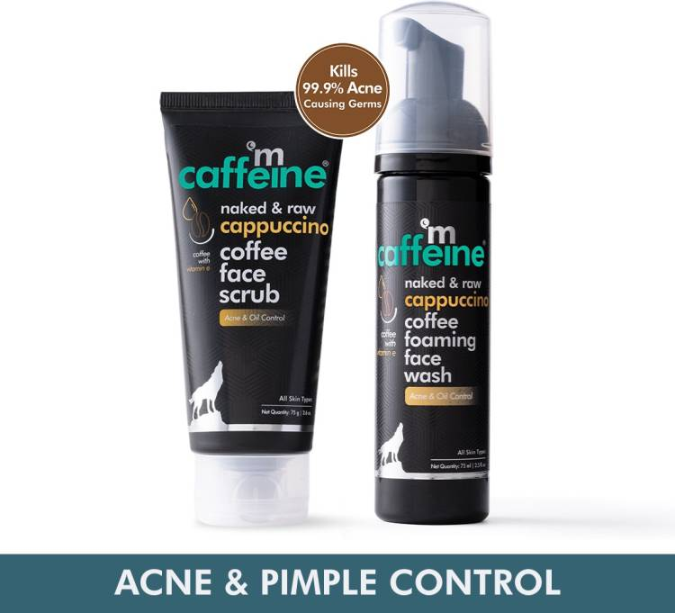 MCaffeine Acne and Pimples Controlling  & Face Scrub Combo with Vitamin E, Cinnamon Extracts | Sulphate & Paraben Free| For Men & Women | 150 g Face Wash Price in India