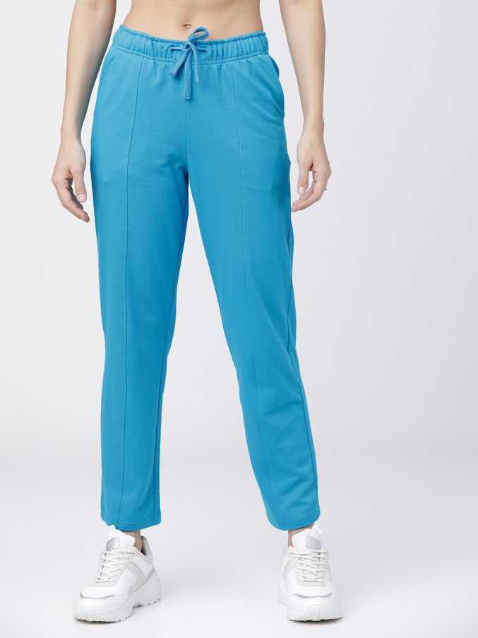 Tokyo TalkiesSolid Women Dark Blue Track Pants