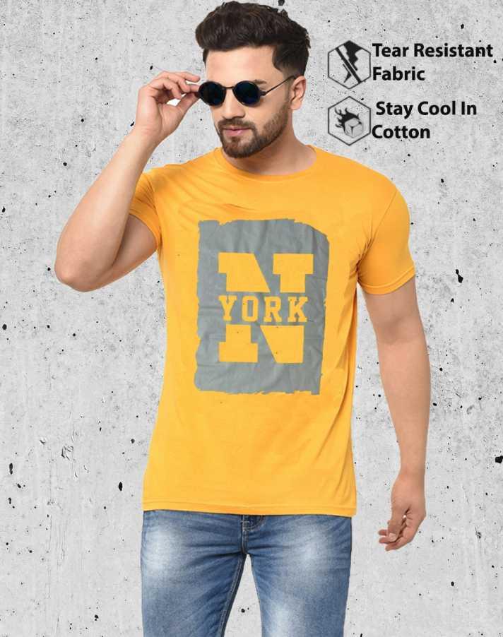 [Size M, L, XL] SmarteesPrinted Men Round Neck Yellow T-Shirt
