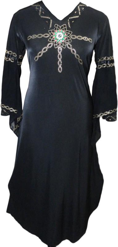 Justkartit JK4364 Lycra Abaya With Hijab(Black)