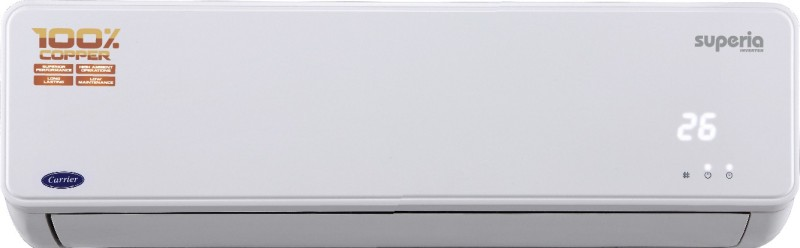 Carrier 1 Ton Inverter (4 Star) Split AC - White(12K Superia Inverter (4i-CO) - CACI12SU4I3, Copper Condenser)