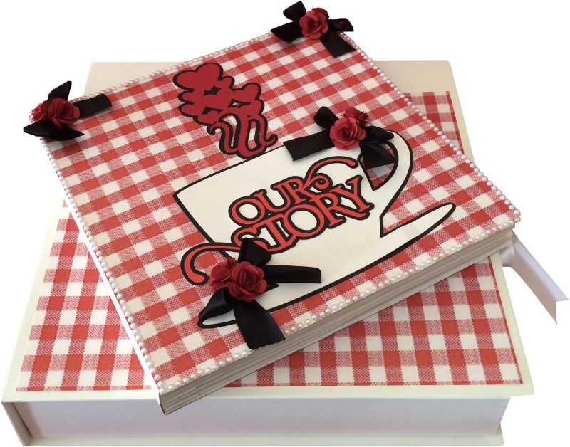 Crack of Dawn Crafts Our Love Story Handmade Scrapbook- Red & Black Album(Photo Size Supported: 4 x 4 inch)
