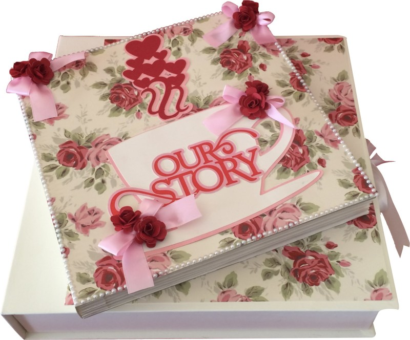 Crack of Dawn Crafts Our Love Story Handmade Scrapbook - Cream,Red & Pink Album(Photo Size Supported: 4 x 4 inch)