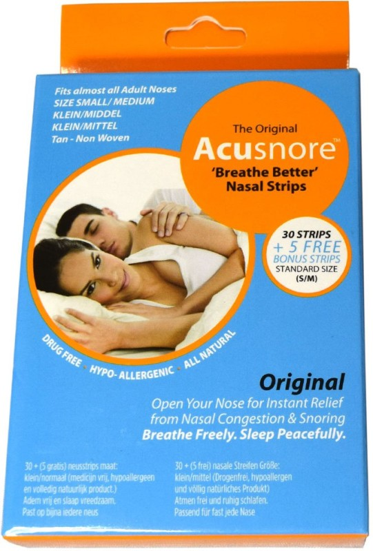 Acusnore Anti Snoring & Nasal Congestion 'Breathe Better' Nasal Strips - SMALL/ MEDIUM- 30 Strips + 5 Free Bonus Strips Anti-snoring Device(Nasal Strip)