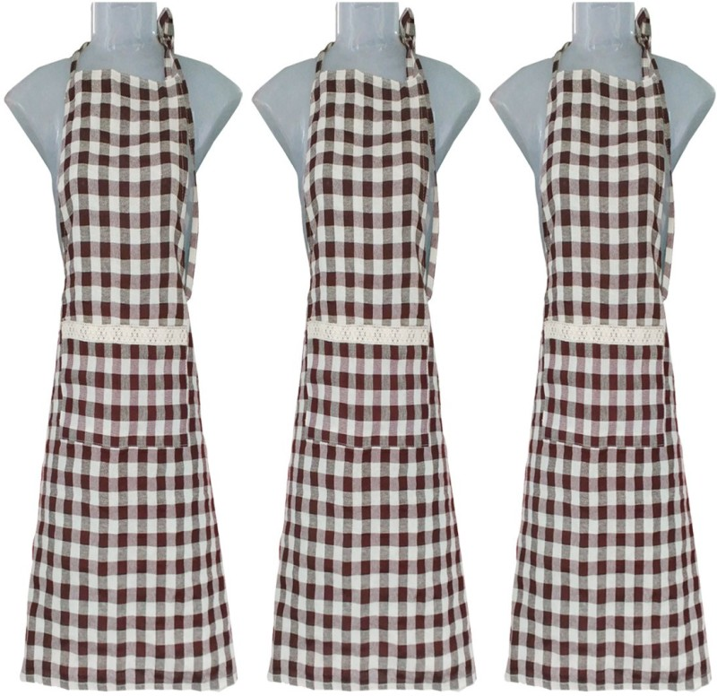 VKE Product Polyester, Cotton Home Use Apron - Free Size(Brown, Grey, Pack of 3)