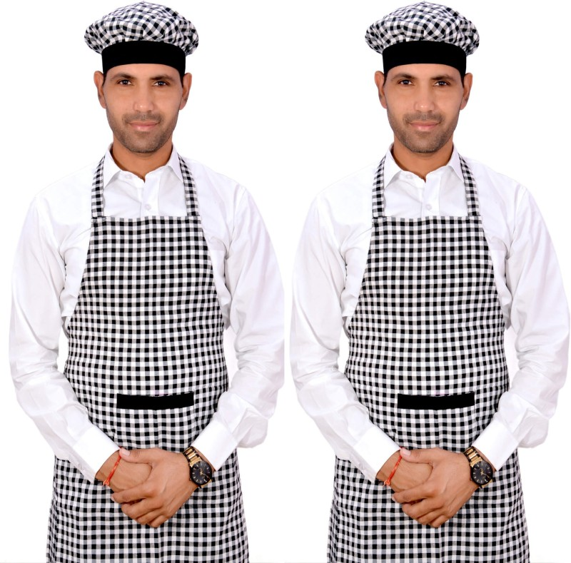 SwitchOn Cotton Chef's Apron - Free Size(Black, Pack of 2)