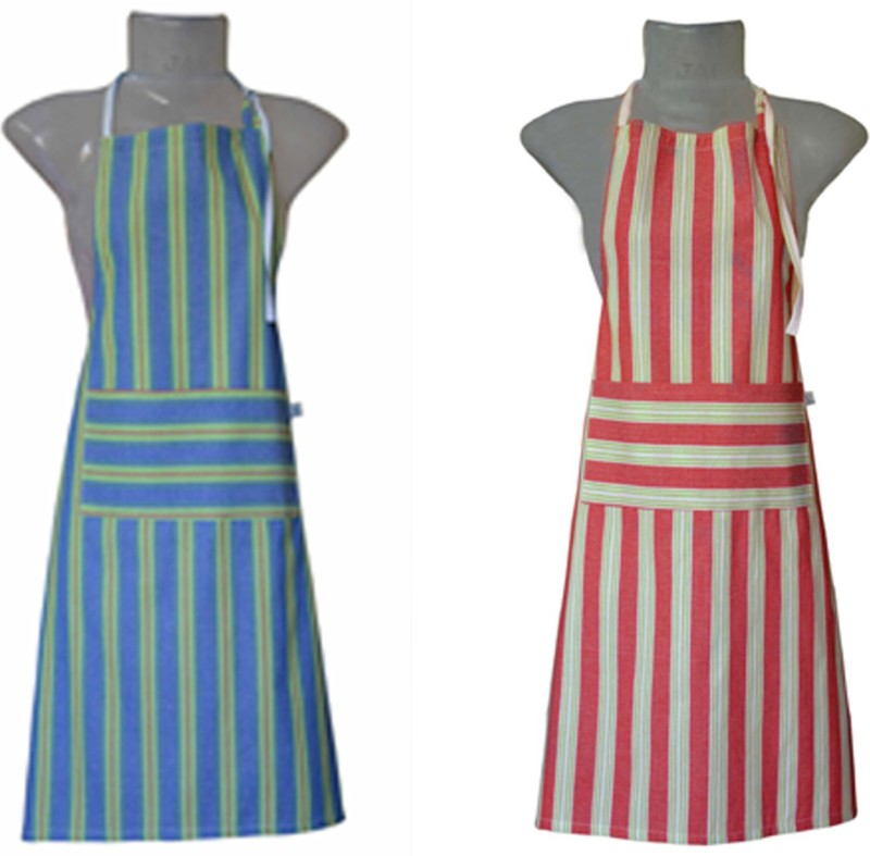 VKE Product Cotton Home Use Apron - Free Size(Red, Blue, Pack of 2)