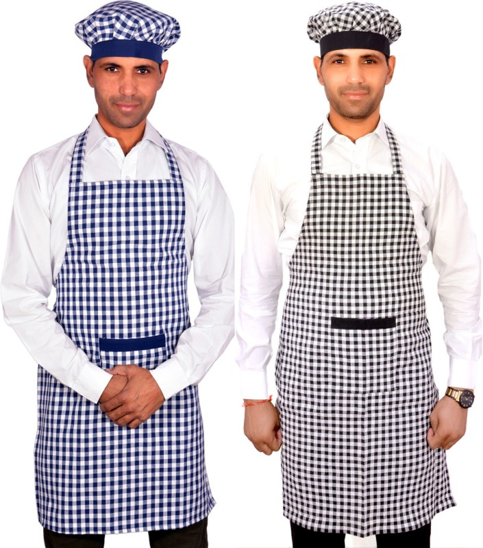 SwitchOn Cotton Chef's Apron - Free Size(Multicolor, Pack of 2)