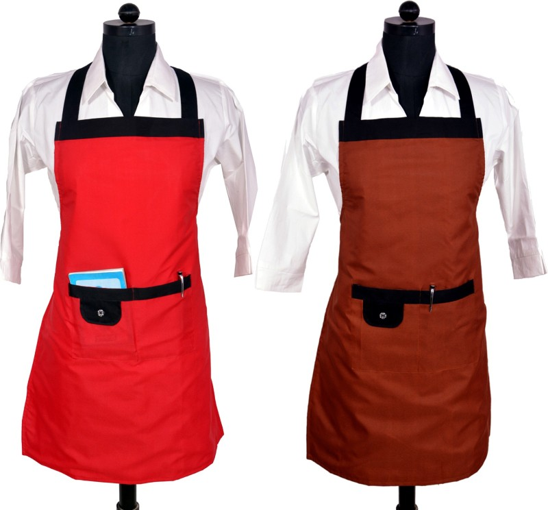SwitchOn Polyester Home Use Apron - Free Size(Multicolor, Pack of 2)