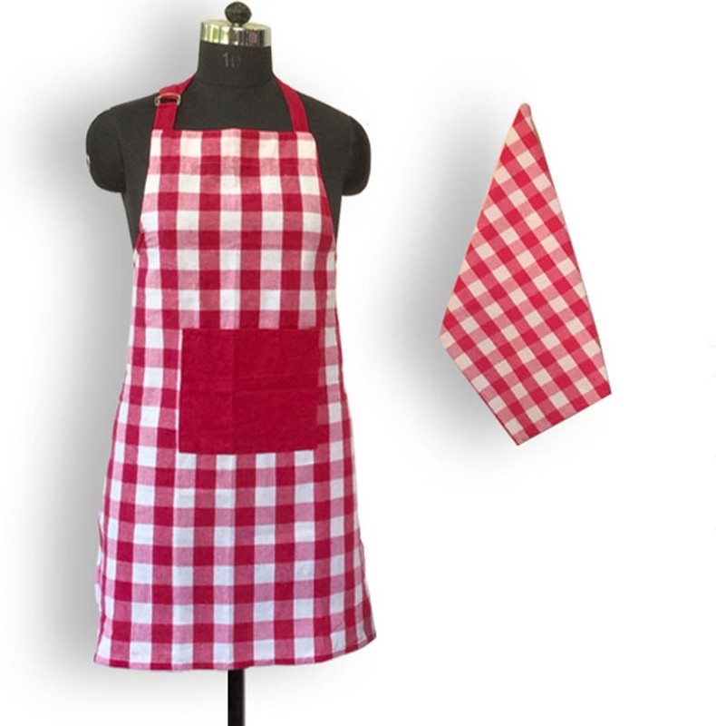Lushomes Cotton Home Use Apron - Free Size(Pink, Single Piece)