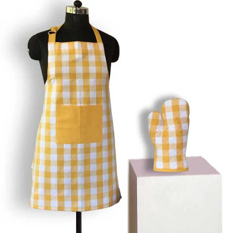 Lushomes Cotton Home Use Apron - Free Size(Yellow, Single Piece)