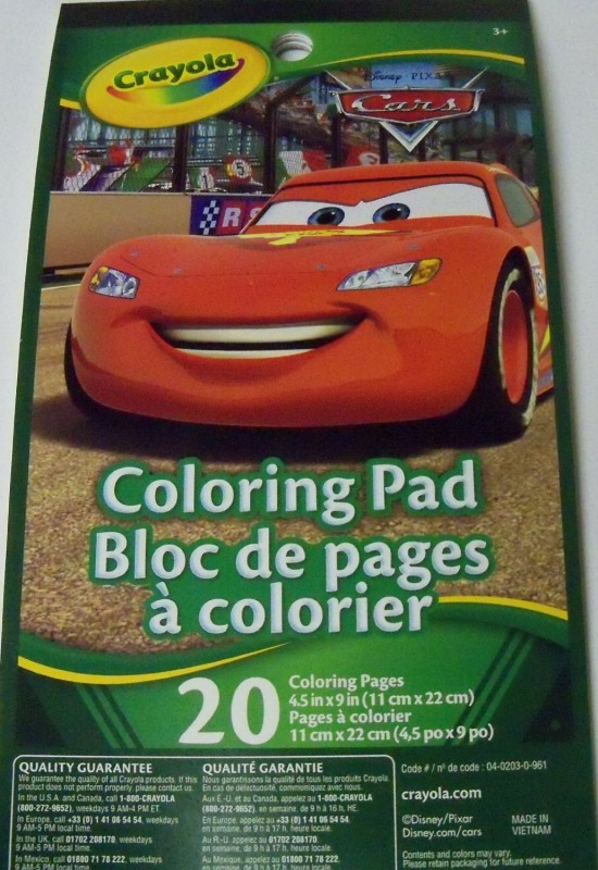 Disney Cars Coloring Pad by Crayola ~ Lightning McQueen Smiling Bright Cover