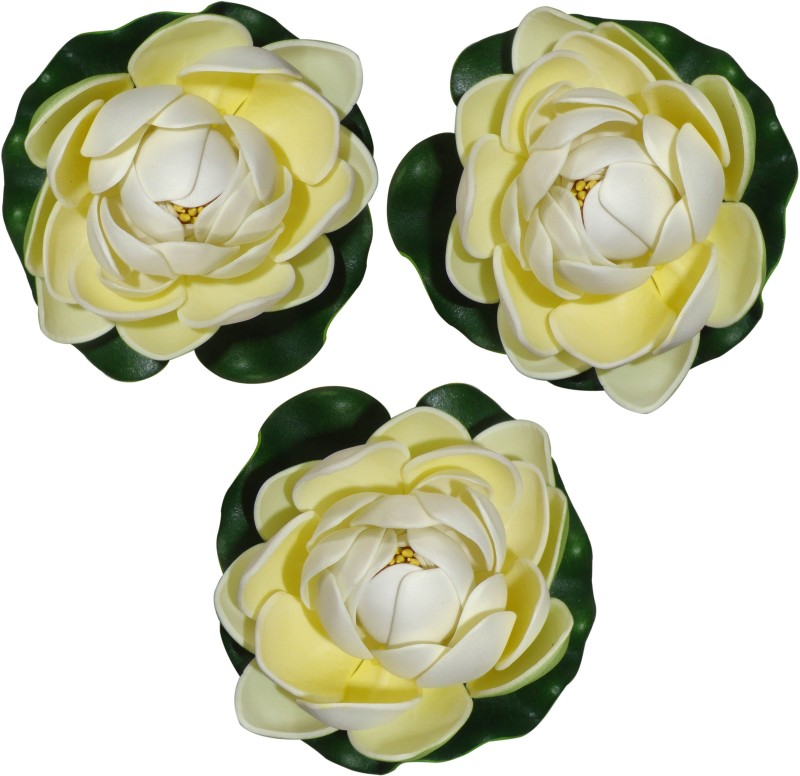 Muhil Floating Lotus Medium White Assorted Artificial Flower(4 inch, Pack of 3)