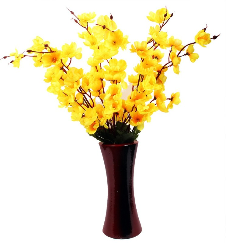 A2Z Street Yellow Orchids Artificial Flower  with Pot(21.5 inch, Pack of 1)
