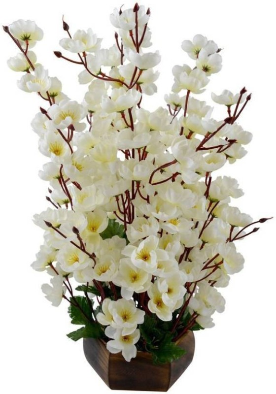 Kaykon Orchid Wooden Pot White Orchids Artificial Flower with Pot(19 inch, Pack...