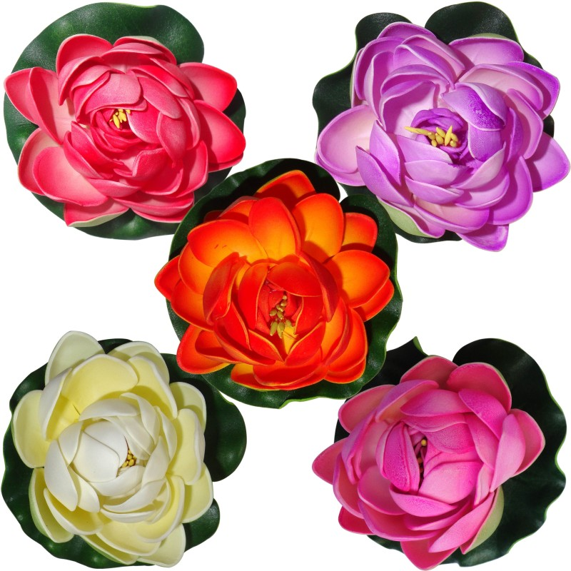 Muhil Floating Lotus Medium Multicolor Assorted Artificial Flower(4 inch, Pack of 5)
