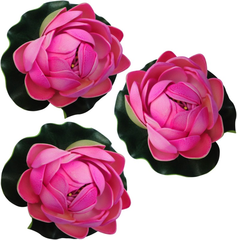 Muhil Floating Lotus Medium Pink Assorted Artificial Flower(4 inch, Pack of 3)
