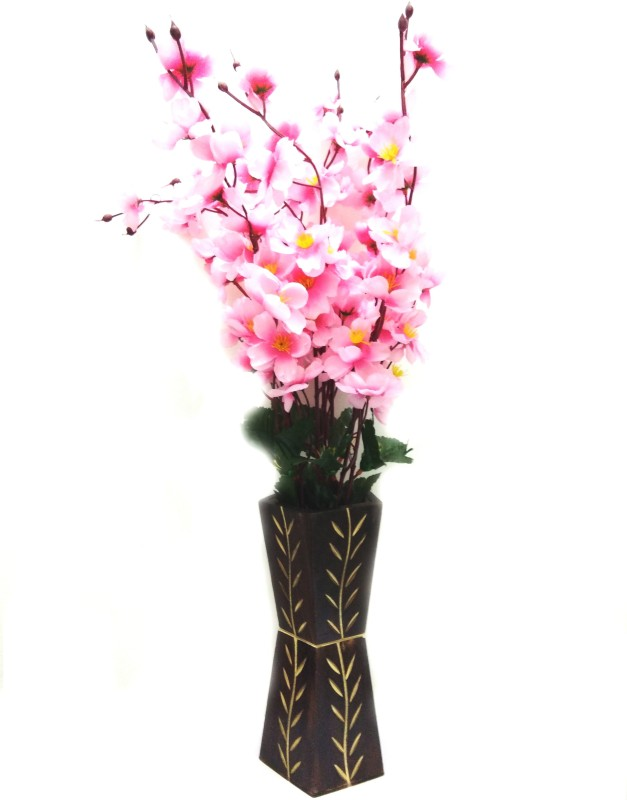 Bluebird Pink Orchids Artificial Flower with Pot(24 inch, Pack of 1)