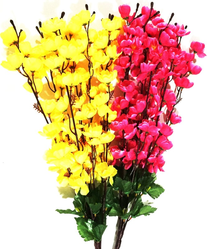 BriteNOVA Yellow, Pink Orchids Artificial Flower(35.5 inch, Pack of 1)