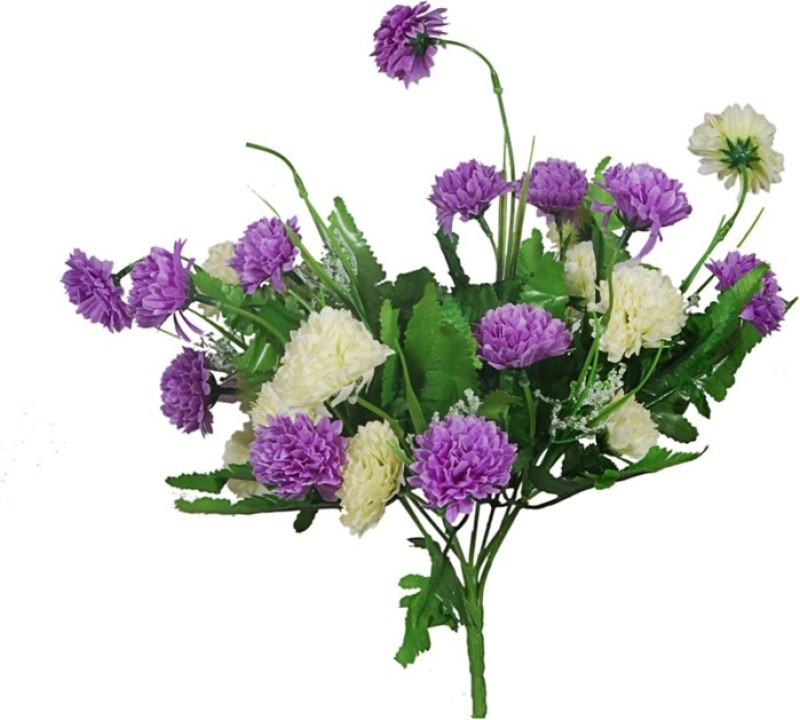 Orchard Purple, White Carnations Artificial Flower(16 inch, Pack of 1)