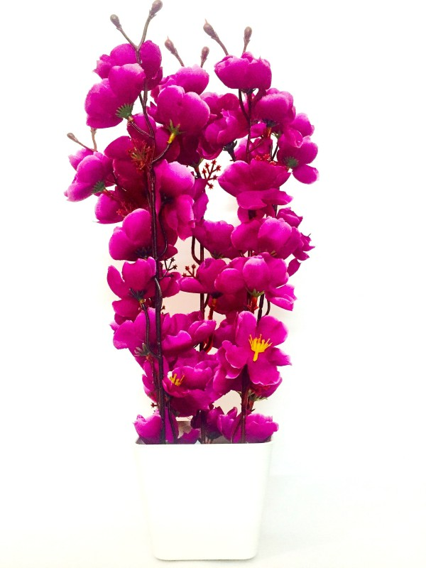 Fleur Blossom Purple Assorted Artificial Flower  with Pot(13.8 inch, Pack of 1)