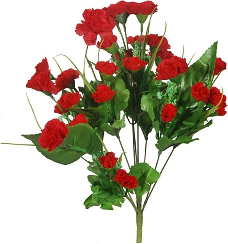 Orchard Red Carnations Artificial Flower(16 inch, Pack of 1)