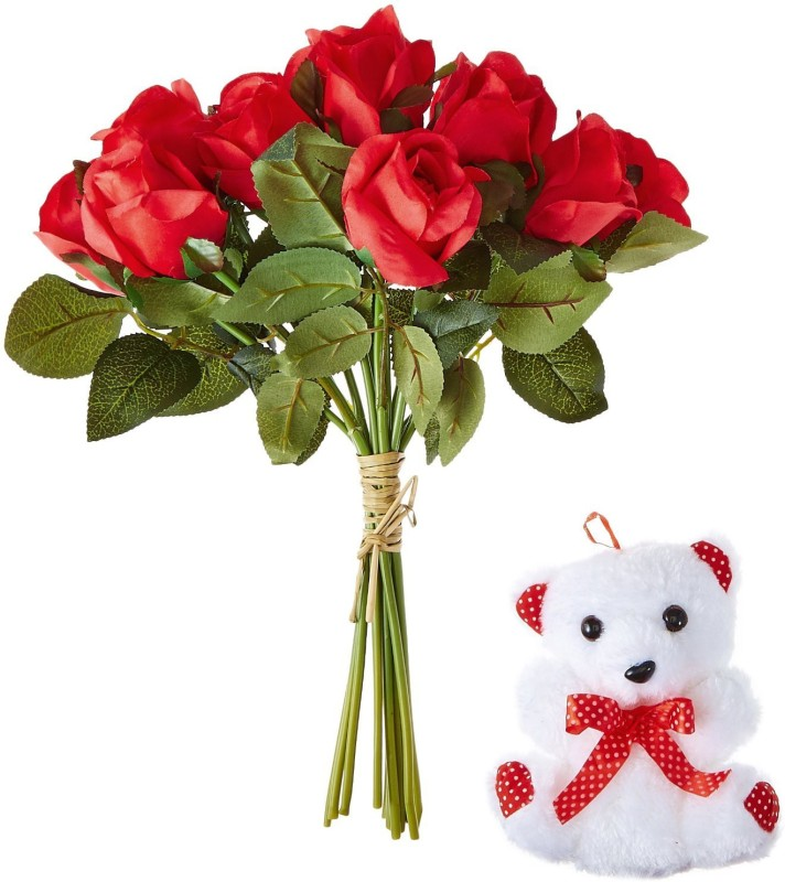 Fourwalls Fourwalls Valentine Season of Love Special Artificial 33 cm Tall Red Rose Bunch and a Cute 8 tall Teddy Bear Red Rose Artificial Flower(13 inch, Pack of 1)