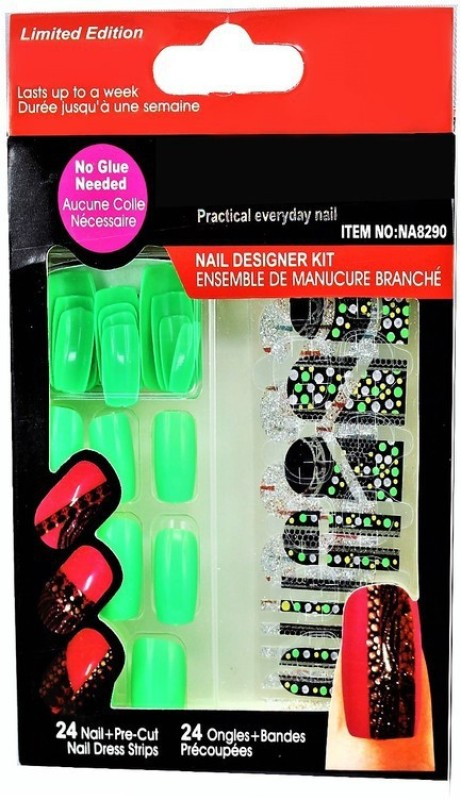 Ear Lobe & Accessories False Fluorescent Green Nails With Sticker & Nail Glue Green(Pack of 24)