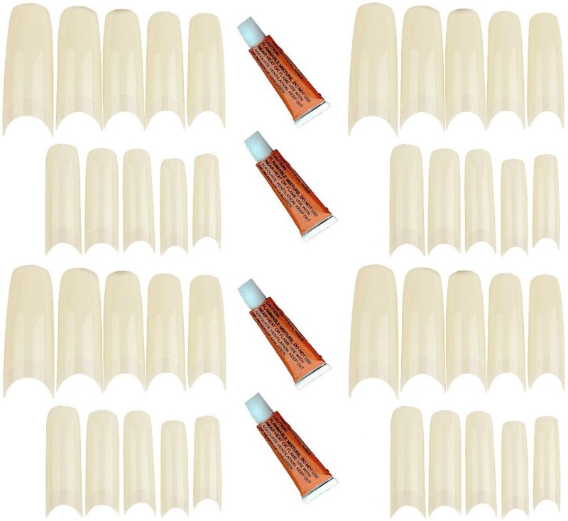 Real Seed Imported Artificial nail tips pack of 40 with 4 Glue Tubes Creamy White(Pack of 40)