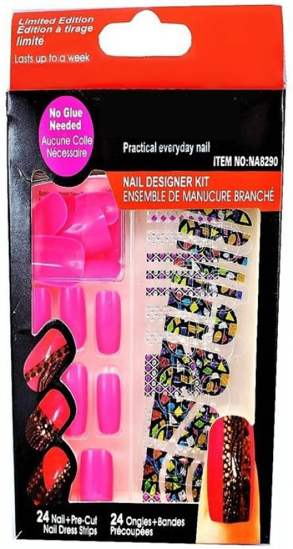 Ear Lobe & Accessories False PinkNails With Sticker & Nail Glue Pink(Pack of 24)