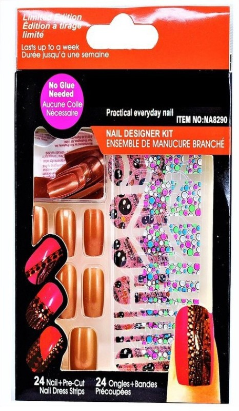 Ear Lobe & Accessories False Brown Nails With Sticker & Nail Glue Brown(Pack of 24)