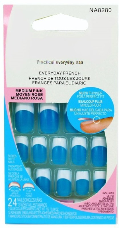 Ear Lobe & Accessories French Blue Nails & Nail Glue Blue(Pack of 24)