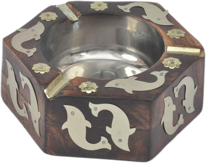 Artist Haat Wood Handicraft Handmade Brown Wood Ashtray(Pack of 1)