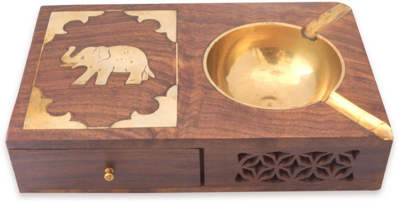 Craftsmen Rajputana With Case Brown Wood Ashtray(Pack of 1)