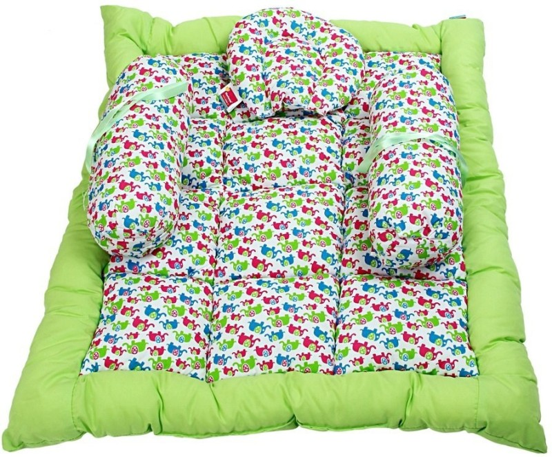 Morisons Baby Dreams Elephant Print Baby Bed Set Baby Carry Bed Mattress(Fabric, Green)