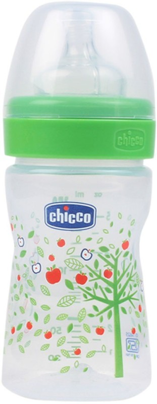 Chicco Wellbeing Regular Flow Feeding Bottle (Green) - 150 ml(Green)