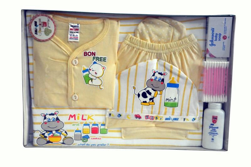 Bonfree BelleGirl 100% Cotton New Born Gift Set of 8 Pcs Cream 0-3M(Cream)