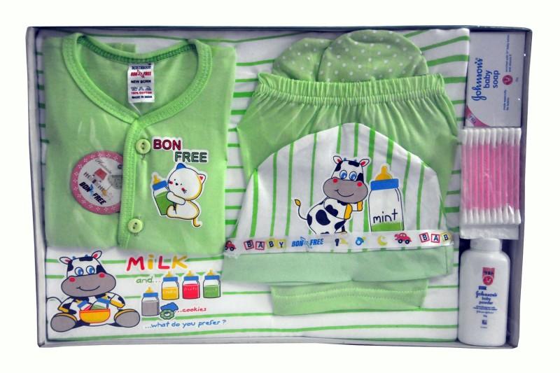 Bonfree BelleGirl 100% Cotton New Born Gift Set of 8 Pcs Green 0-3M(Green)