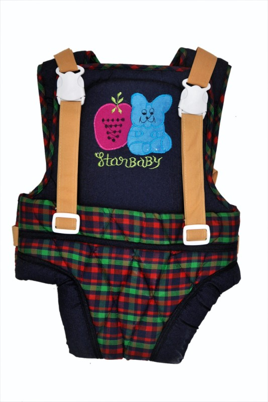 Jhankhi Baby Carrier Kangaroo Belt Sleeping Bag Multi Color Green And Blue With Checks Baby Carrier(Multicolor, Front Carry facing in)