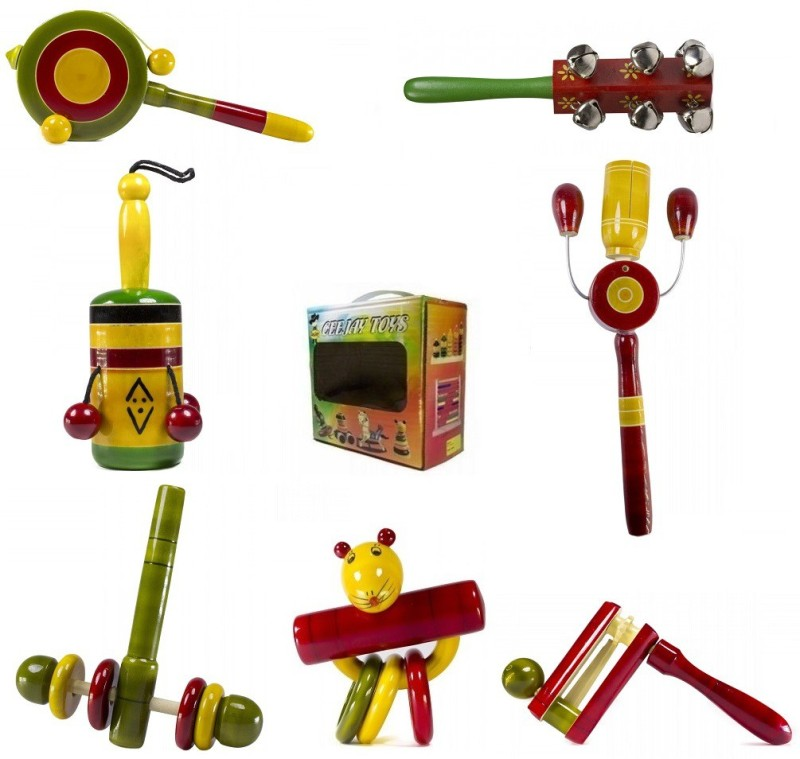 CeeJay Set of 7 Colorful Wooden Baby Toys:Model RA-OW024 Rattle(Multicolor)