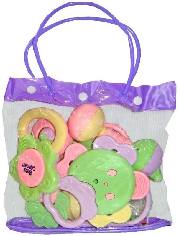 New Pinch Baby Pouch of 7 pcs Rattle(Multicolor)
